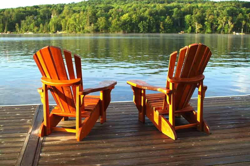 Two chairs overlooking a lake