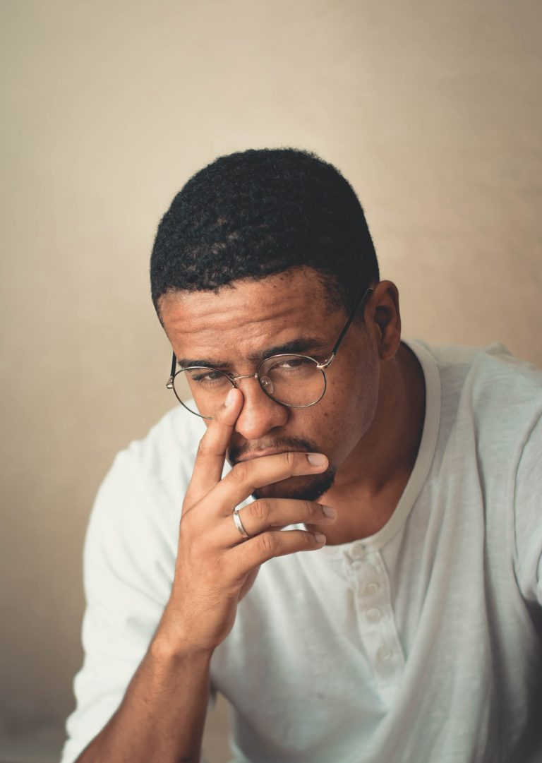 man thinks about what went wrong